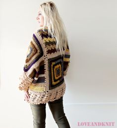 Afghan Crochet Cardigan - an intriguing design concept. Cardigan for sale at Etsy.