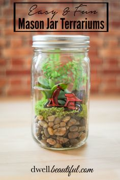 Make these easy and fun mason jar terrariums in a few simple steps with either natural or faux materials! The perfect spring craft for kids and adults alike!
