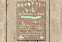 bridal kitchen tea invite, afternoon tea invite, high tea, pink mint green, shabby chic invite, bunting, printable, PROOF in 2 bus. days on Etsy, $16.50