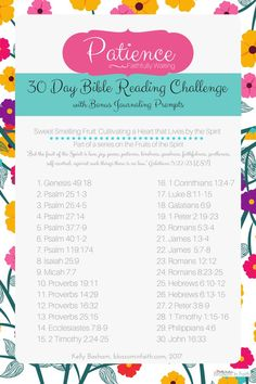 Topical Bible Reading Plans Perfect For Summer! 30 day topical bible study reading challenge on Patience. Let's take a closer look at the Fruits of the Spirit. Includes bonus journaling paper with prompts. Bible Study Plans, Bible Plan, Free Bible Study, Bible Study Tips, Bible Study Journal, Daily Bible Reading Plan, Prayer Journals, Scripture Journal, Family Bible Study
