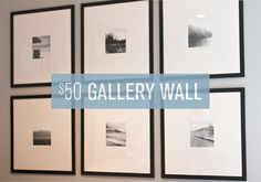 $50 Gallery Wall - Ikea frames, poster board mats and home printed photos