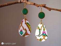 Porcelain Arabesque | handpainted paper earrings | acrilyc paint on cardstock | Paper Leaf