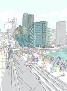 Sydney Australia by Rupert Van Wyk Illustration Sketches, Illustrations, Digital Illustration, Background Drawing, City Background, Building Sketch, Building Art, City Drawing, A Level Art