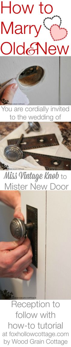 Great tip! How to install a vintage door knob on a new house door! DIY home improvement tutorial with step by step photos and instructions. at foxhollowcottage.com by @woodgraincottge