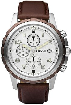 Fossil Men's FS4543 Brown Leather Strap Silver Analog Dial Chronograph Watch < $125.00 > Fossil Watch Men
