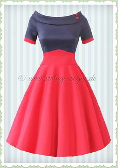 Dolly & Dotty 50er Jahre Rockabilly Petticoat Kleid - Darlene - Navy Rot