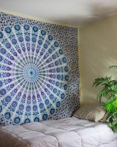 Purple, Blue, & White Mandala Tapestry $24.99 | www.thebohemianshop.com #MandalaTapestries #Bohemian