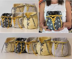 """A Lovely Pouch. This is a really quick project to make and a fun and original storage idea. You will need two fat quarters of fabric for the outer and lining of the pouch, plus 3"""" x width of fabric strip for the binding and lace. Finished size 7"""" high by 6.5"""" wide"""