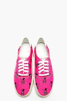 SAINT LAURENT Pink Skull Print Sneakers