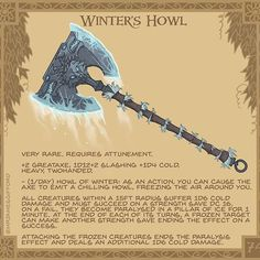 Winter's Howl ❄️🐺❄️- Said to contain the spirits of three winter wolves, this axe's cry sends chills into the wielder's… Dnd Dragons, Dungeons And Dragons Game, Dungeons And Dragons Homebrew, Fantasy Weapons, Fantasy Rpg, Dnd Characters, Fantasy Characters, Dnd Stats, Japon Illustration