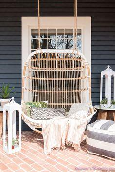Rattan Porch Swing. Rattan Porch Swing Ideas. Rattan Porch Swing. Rattan Porch Swing #RattanPorchSwing #RattanSwing #PorchSwing Home Bunch's Beautiful Homes of Instagram @addisonswonderland