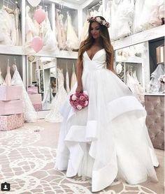 bb4ec6c014e5 Simple Ball Gown Wedding Dresses Deep V Neck Puffy Bridal Gowns Cheap  Evening Dresses, Cheap