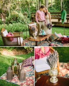 outdoor garden wedding - bohemian eclectic wedding decor