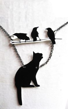 Birds and Black Cat Necklace Silhouette Pet by whatanovelidea, $29.00