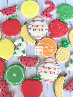 Two-tti Frutti Decorated Sugar Cookies - 1 Dozen - Birthday Party - Twotti Fruity Watermelon Birthday Parties, Fruit Birthday, Fruit Party, Birthday Cookies, Fruit Cookies, Cute Cookies, Sugar Cookies, 2nd Birthday Party For Girl, Second Birthday Ideas