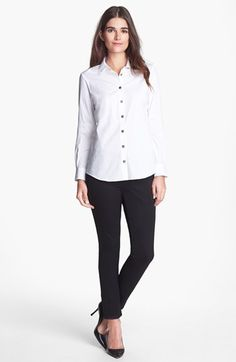 Pink Tartan Pleated Collar Shirt & Stretch Ankle Pants | Nordstrom. Like the shoes with this outfit.
