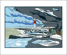 Portland Bill  Linocut by Colin Moore