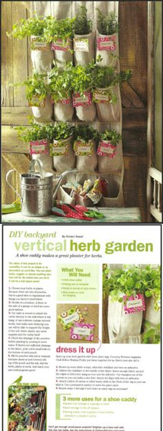 Herb garden using a shoe bag from Birds & Blooms magazine.
