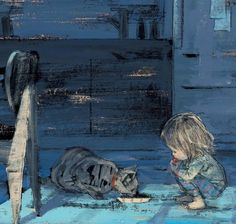 """Illustration from the children's book """"Hannah's Night"""", written and illustrated by Japanese artist Komako Sakai Art And Illustration, Book Illustrations, Cat Drawing, Painting & Drawing, Margaret Wise Brown, Cat Art, Illustrators, Book Art, Drawings"""