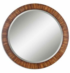 "Rejuvenation - Round Mirror with Antiqued Wood Frame (36"" diameter)"