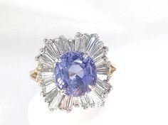 Vintage Ceylon Sapphire & Diamond Ballerina Estate Ring