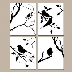 Uccelli di una piuma Wall Art Quad Set di quattro 8 x di Tessyla