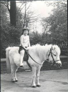 LITTLE GIRL RIDING PONY HORSE Vintage Photo