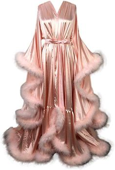 Old Hollywood Feather Robe Sexy Boudoir Robe Feather Bridal Robe Satin Long Wedding Scarf New Custom Made Dressica Bridal Robes, Wedding Lingerie, Fancy Robes, Look Fashion, Fashion Outfits, Lingerie Outfits, Mode Vintage, Night Gown, Boudoir