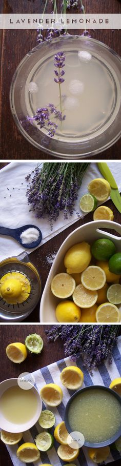 Lavender lemonade recipe.  Combining lemons, limes, and lavender, this recipe seems like a refreshing, and delicious, way to handle this heat.  :)