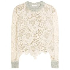See by Chloé Lace and Wool Sweater ($395) ❤ liked on Polyvore featuring tops, sweaters, grey, see by chloé, pink lace sweater, lace sweater, lacy tops and pink sweater