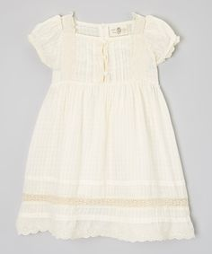 Take a look at this Cream Bow Dress - Toddler & Girls on zulily today!