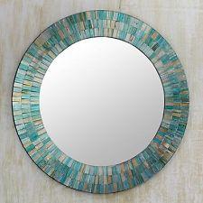 Glass Mosaic Wall Mirror Handmade Blue Multi-Color 'Aqua Fantasy' NOVICA India