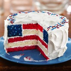 Red, White and Blue Layered Flag Cake - Betty Crocker