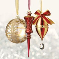 60-pc. Medici Ornament Collection - The 60 burgundy and gold ornaments in the Medici Ornament Collection decorate your tree like a holiday masterpiece. The complete set shimmers with a wealth of hand-applied embellishments; All which would cost five times more if purchased elsewhere. Pair the ornaments with optional designer ribbon and picks for a coordinated holiday look.