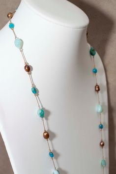 Peruvian Opal and Turquoise Necklace by Noduri on Etsy, $150.00