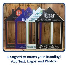 Real Estate Sign Selfie Frame Customized And Printed House Shaped Photo Prop Frame Closing Gift