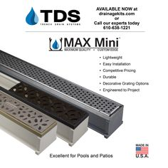 Available NOW at drainagekits.com, the NEW MAX Mini from Trench Drain Systems gives your home a sophisticated look. Questions? Contact us today at 610-638-1221. #maxmini #trenchdrains #drains #decorative #homeimprovement #draincovers #diy #patio #pool #backyard Trench Drain Systems, Drainage Channel, Drainage Solutions, Pool Backyard, Diy Patio, Home Improvement, This Or That Questions, Mini, Courtyards
