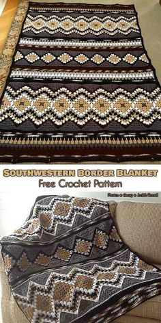 The Southwestern Border Blanket was based on the Modular SouthWest Design-it-Yourself by Judith Russell. This beautiful geometric pattern is sure to fir with any decor, and look good as a blanket, throw or cover.Link to that pattern is below. Skills: Intermediate Yarn: Red Heart Super Saver Solids, Red Heart Super Saver Multis Modular SouthWest Design-it-Yourself – visit the free pattern site on Ravelry.
