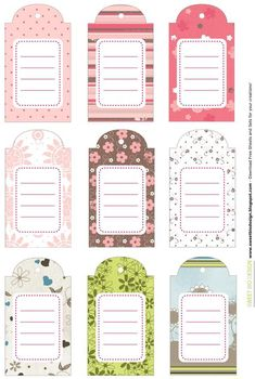 Tags or journaling blocks. Printable Planner Stickers, Printable Labels, Free Printables, Card Tags, Gift Tags, Diy And Crafts, Paper Crafts, Journal Cards, Happy Planner