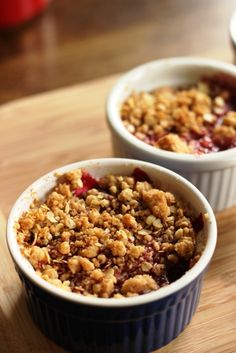 Personal Cherry Crumbles - Bake up individual cherry crumbles for a delicious dessert any time of year. (Psst, but particularly fun at Valen...