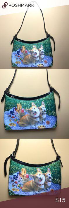 "Corgi pictured handbag. Gently used. Corgi pictured handbag. Gently used. 10 1/2 "" length. 6"" height. 3"" width. 10"" drop. Bags Shoulder Bags"