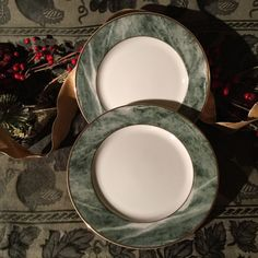 2 Mikasa Dinner Plates L 2112 Travertine Green From the Estate of Jackie Collins #Mikasa