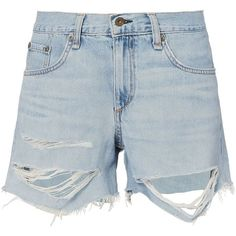 Rag & Bone Women's Shredded Boyfriend Shorts ($195) ❤ liked on Polyvore featuring shorts, denim, ripped shorts, denim shorts, distressed boyfriend shorts, destroyed denim shorts and zipper shorts