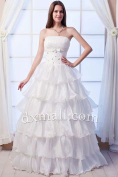 Pick Up Wedding Dresses Strapless Floor Length Satin Organza White W1001090122
