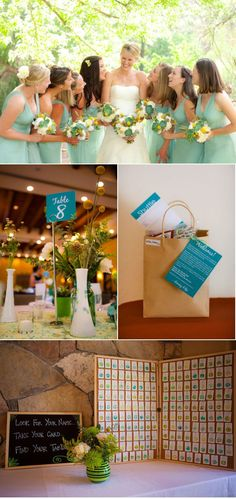 The color palette for this wedding is exquisite...I especially love the escort card display.
