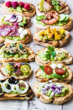 Guacamole Bruschetta Bar ~ admit it, you've always wanted to eat avocado toast f. - Guacamole Bruschetta Bar ~ admit it, you've always wanted to eat avocado toast for dinner, and th - Bruschetta Bar, Homemade Bruschetta, Quick Healthy Breakfast, Healthy Snacks, Healthy Recipes, Healthy Brunch, Healthy Breakfasts, Healthy Sweets, Healthy Nutrition
