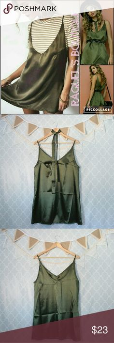 Olive Green Silky Slip Dress with Matching Choker Details: Olive green sleeveless silky slip shift dress with matching neckerchief choke  Brand: Boutique Brand  Size: Small Measurements: Bust/32 inches??? Waist/38 inches??? Length/30 inches  Size: Medium Measurements: Bust/34 inches??? Waist/40 inches???? Length/31 inches  Size: Large Measurements: Bust/36 inches???? Waist/42 inches?? Length/31 inches  Size: X-large Measurements: Bust/38 inches? Waist/44 inches??? Length/32 inches…