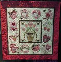"Vintage Valentine, 70 x 70"", by Theresa Olson, 2015 World Quilt Show (Florida).  Pattern by Verna Mosquera.  Photo by Quilt Inspiration"
