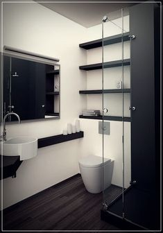 Modern Small Bathrooms Photos and Decoration Ideas Modern Small Bathrooms, Contemporary Bathrooms, Modern Bathroom, Bathroom Remodel Cost, Bathroom Renovations, Home Remodeling, Mini Bad, White Countertops, Simple Bathroom