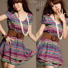 Korean Fashion Women's Multi-Colors Stripes V neck Slim Dress Casual Dress +Belt